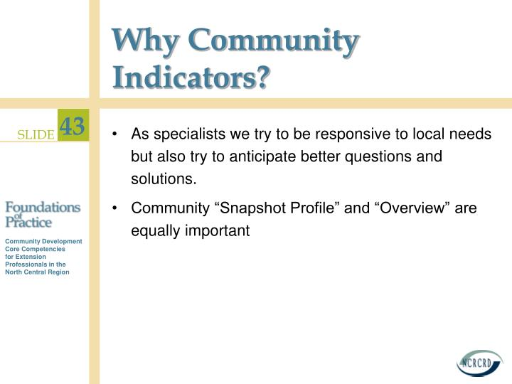 Why Community Indicators?