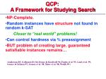 qcp a framework for studying search