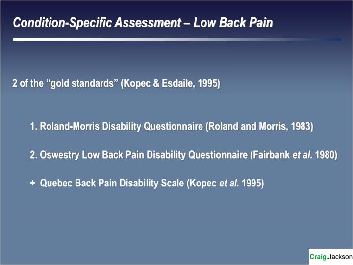 Condition-Specific Assessment – Low Back Pain