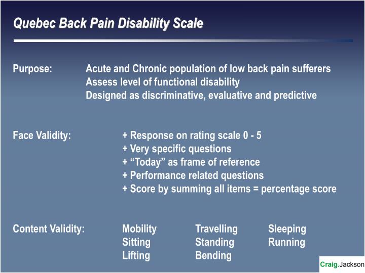 Quebec Back Pain Disability Scale