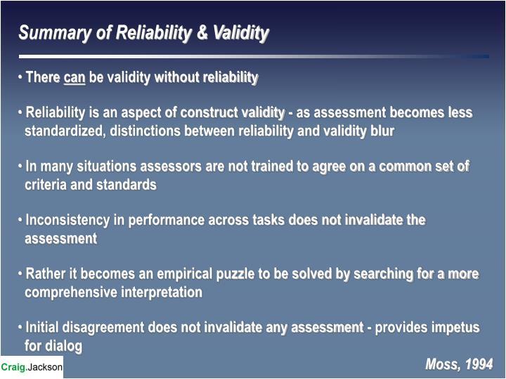Summary of Reliability & Validity