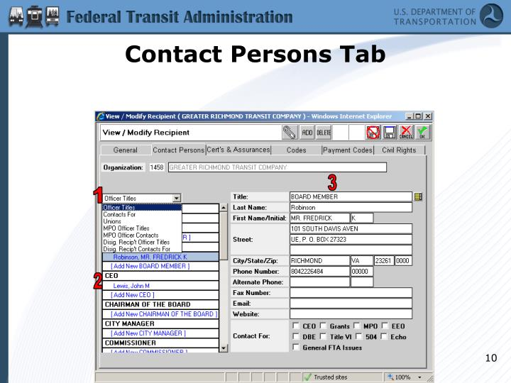 Contact Persons Tab