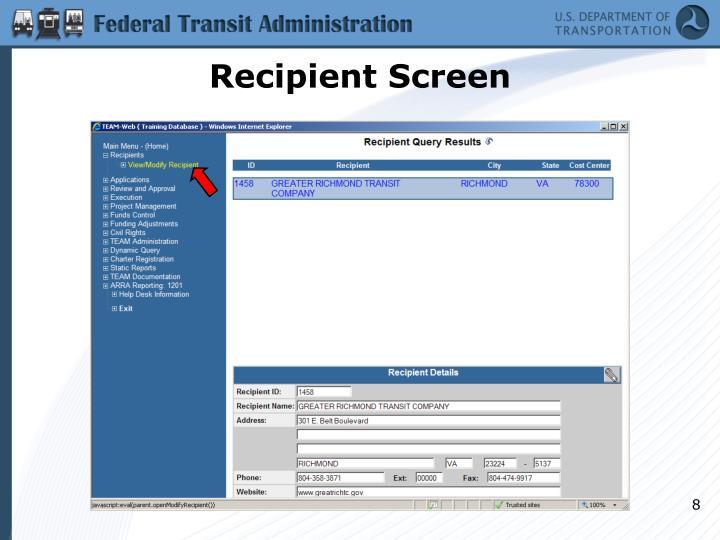 Recipient Screen