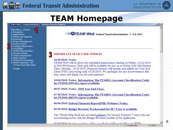 TEAM Homepage