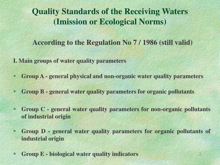 Quality standards of the receiving waters imission or ecological norms