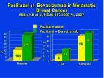 paclitaxel bevacizumab in metastatic breast cancer miller kd et al nejm 357 2666 76 2007