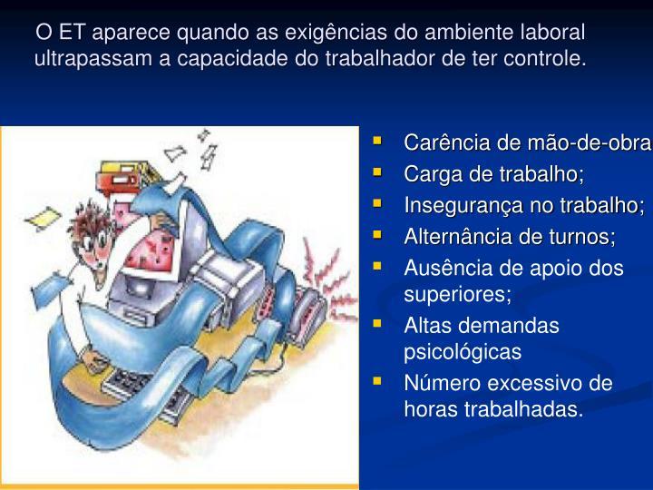 O ET aparece quando as exigências do ambiente laboral ultrapassam a capacidade do trabalhador de ter controle.