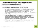 the real exchange rate approach to exchange rates cont4