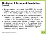 the role of inflation and expectations cont