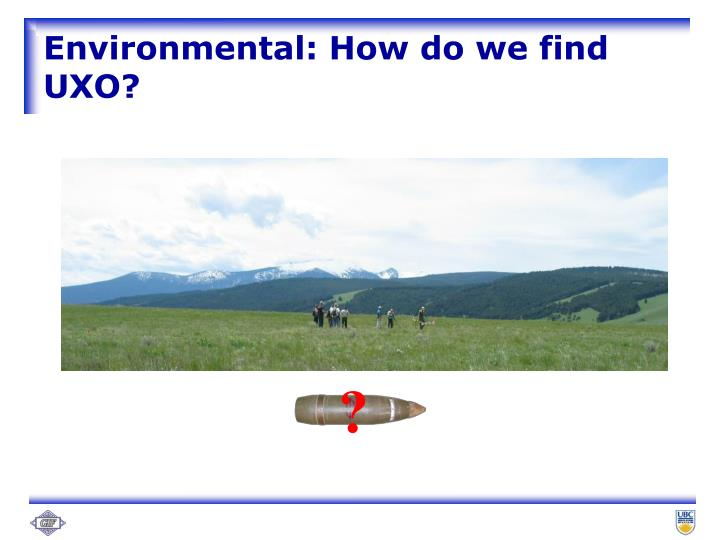Environmental: How do we find UXO?