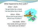 he got bitten by a shark he was bitten by a shark