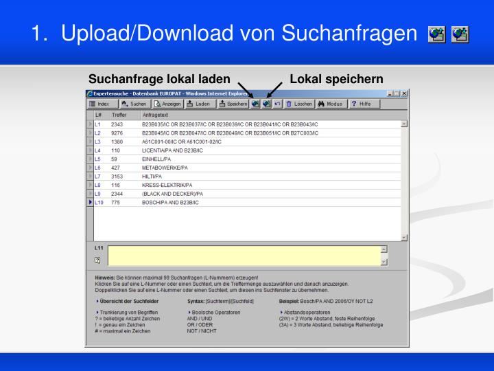 1 upload download von suchanfragen