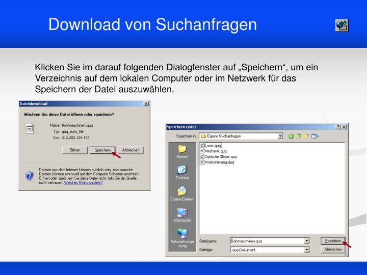 Download von Suchanfragen