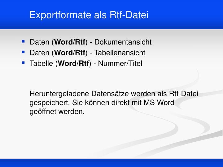 Exportformate als Rtf-Datei