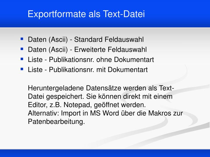 Exportformate als Text-Datei