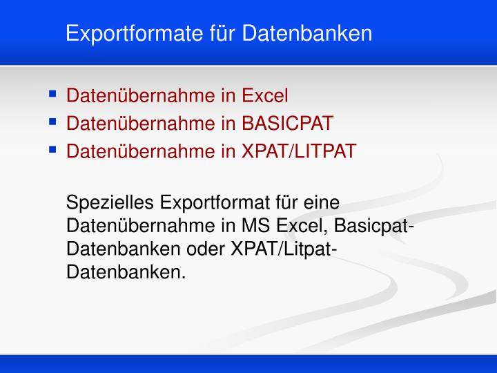 Exportformate für Datenbanken