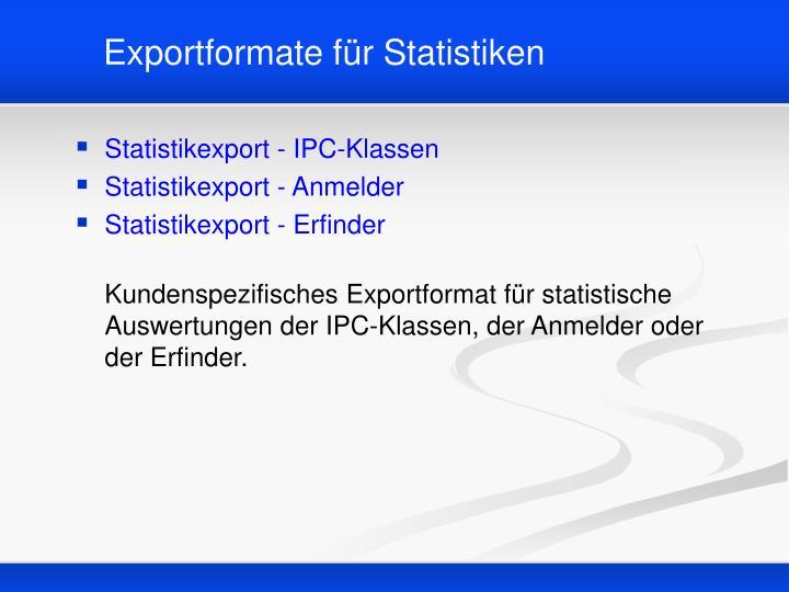 Exportformate für Statistiken