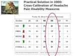 practical solution in 2000 cross calibration of headache pain disability measures
