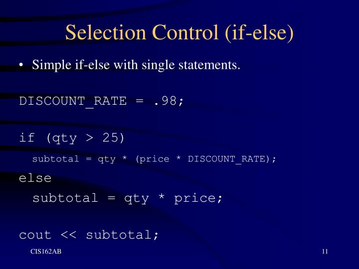 Selection Control (if-else)