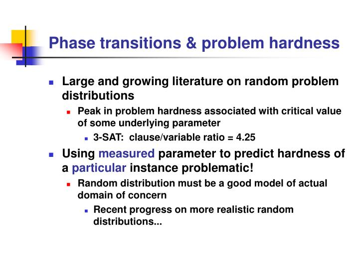 Phase transitions & problem hardness