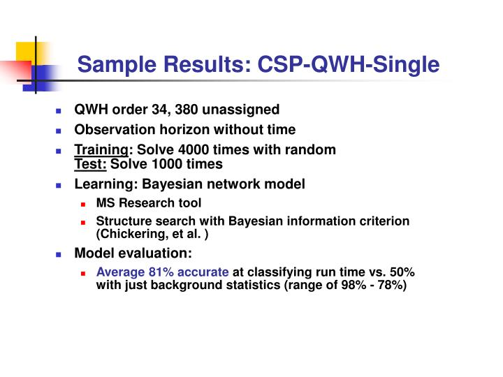 Sample Results: CSP-QWH-Single