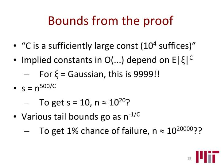Bounds from the proof