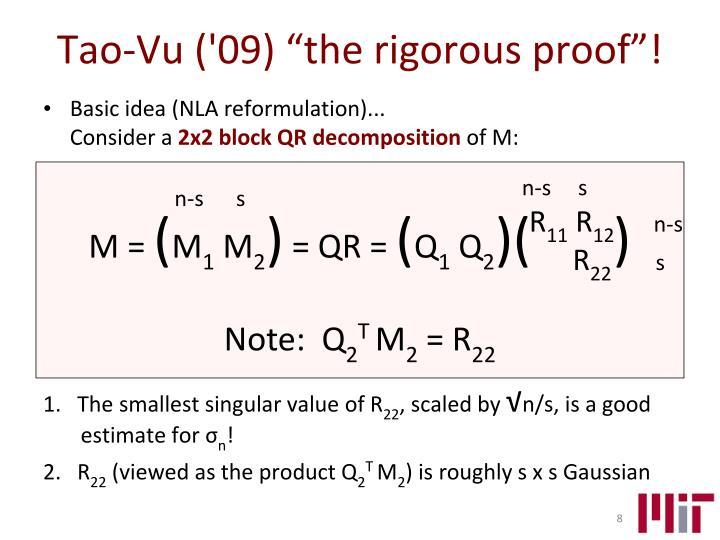 "Tao-Vu ('09) ""the rigorous proof""!"