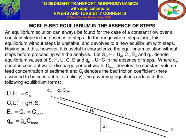 MOBILE-BED EQUILIBRIUM IN THE ABSENCE OF STEPS