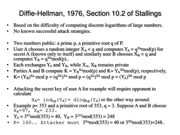 Diffie-Hellman, 1976, Section 10.2 of Stallings