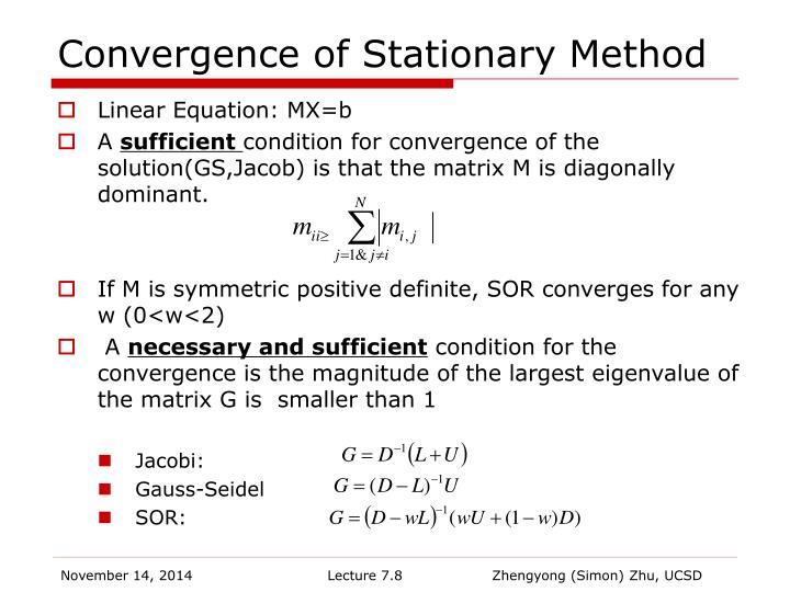 Convergence of Stationary Method