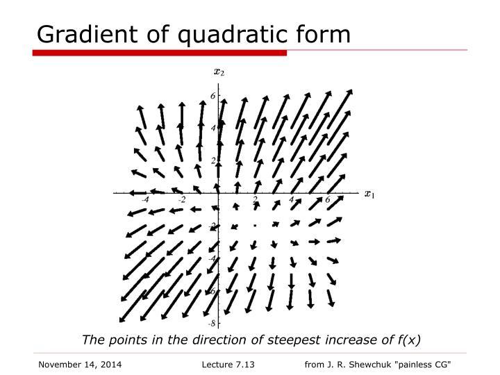 Gradient of quadratic form