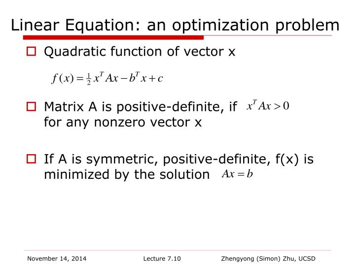 Linear Equation: an optimization problem