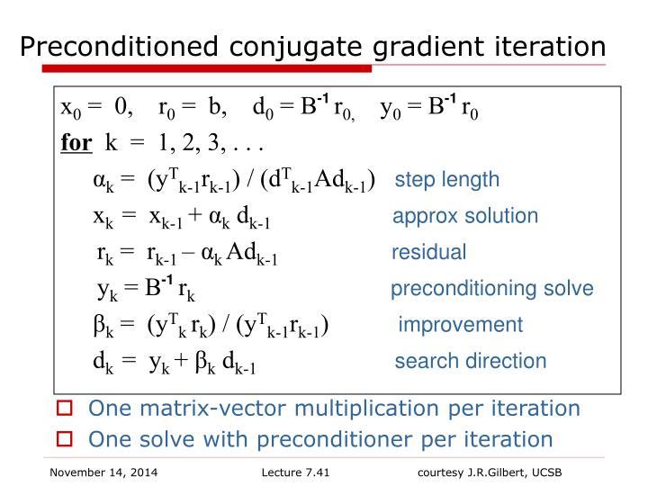 Preconditioned conjugate gradient iteration