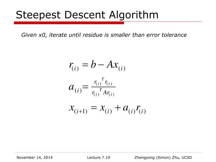Steepest Descent Algorithm