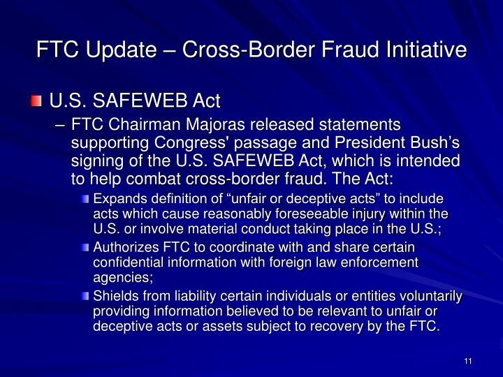FTC Update – Cross-Border Fraud Initiative