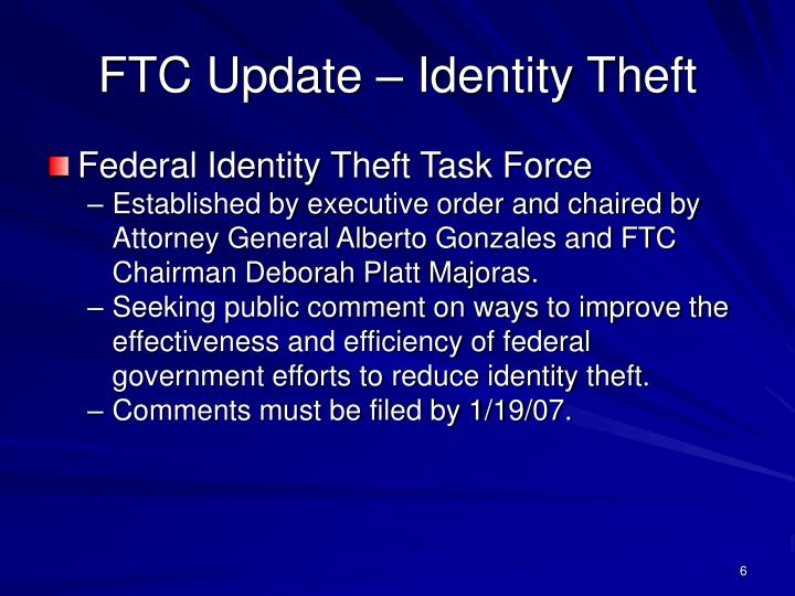 FTC Update – Identity Theft