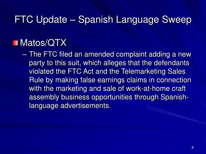 FTC Update – Spanish Language Sweep