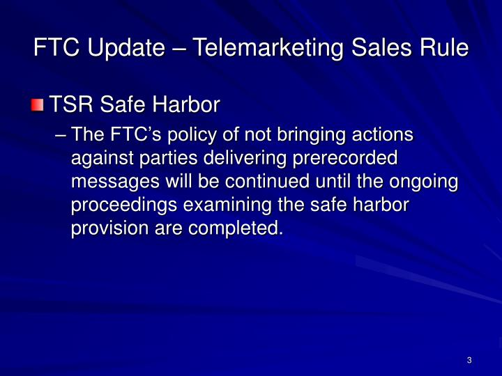 Ftc update telemarketing sales rule