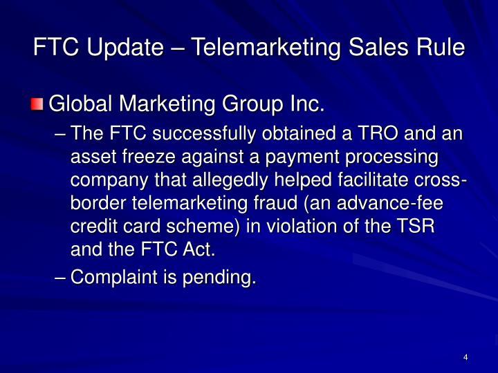 FTC Update – Telemarketing Sales Rule
