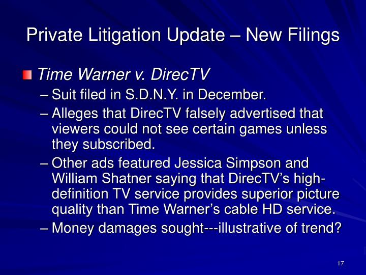 Private Litigation Update – New Filings