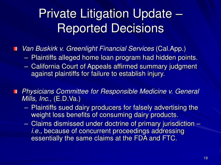 Private Litigation Update – Reported Decisions