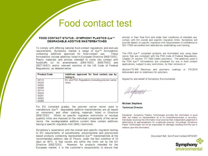 Food contact test
