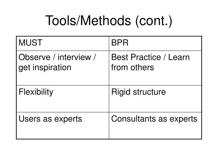 Tools/Methods (cont.)