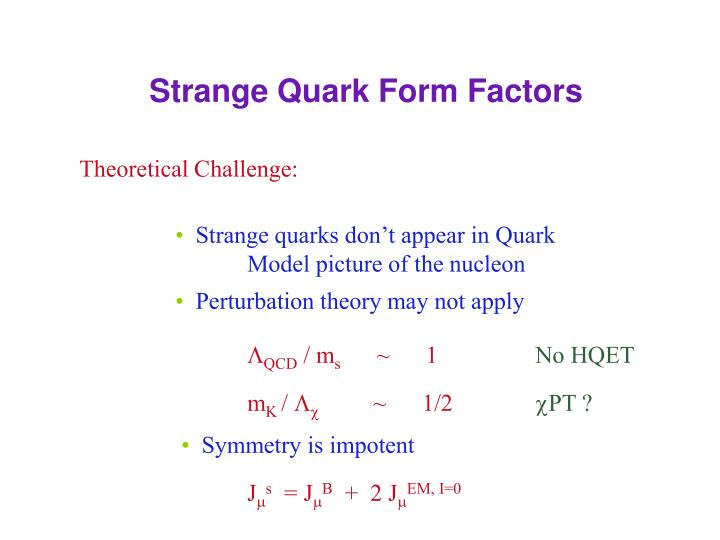 Strange Quark Form Factors