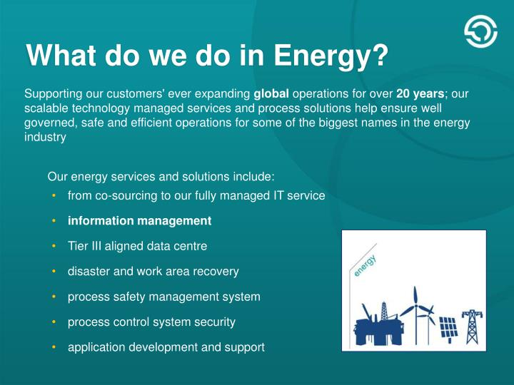 What do we do in Energy?