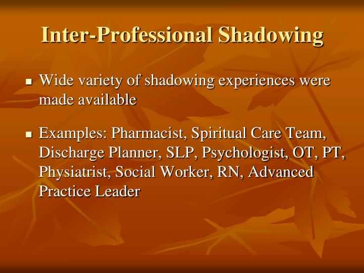 Inter-Professional Shadowing