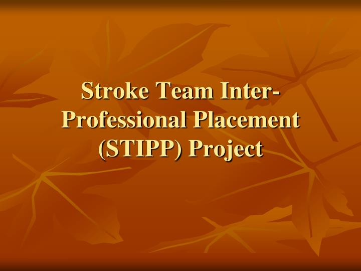 Stroke team inter professional placement stipp project
