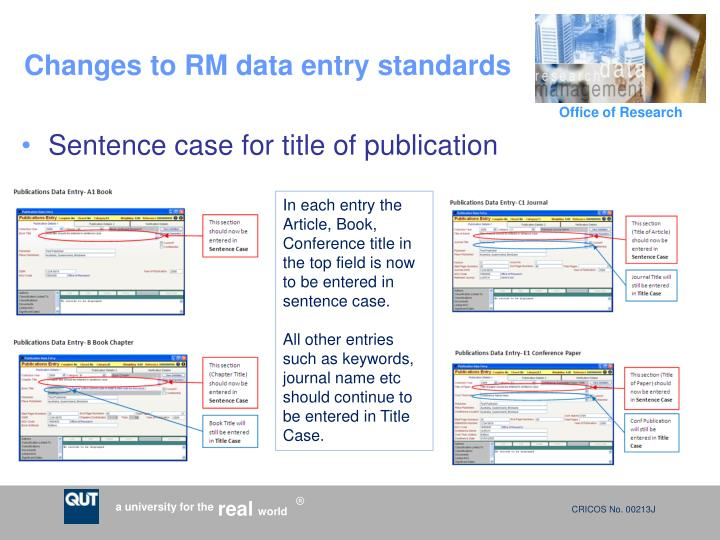 Changes to rm data entry standards