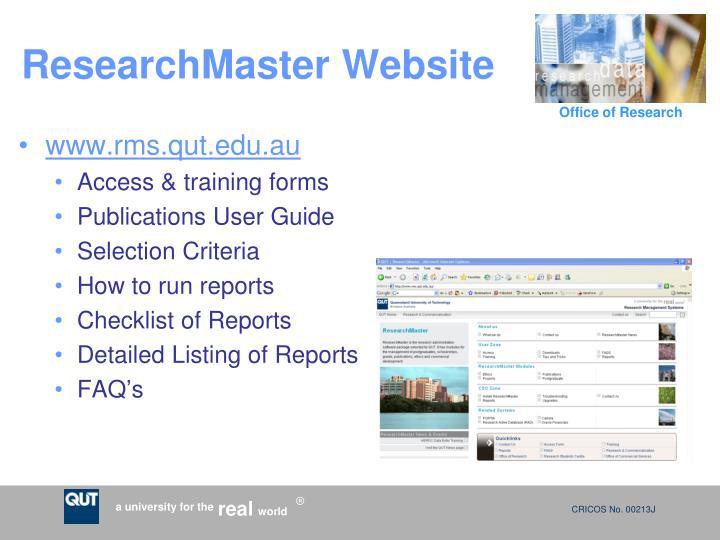 ResearchMaster Website