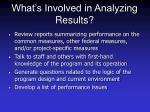 what s involved in analyzing results